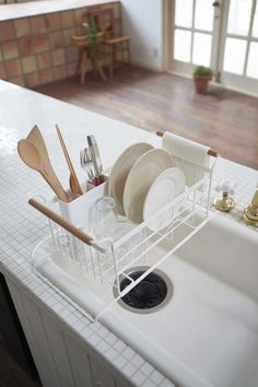 Tosca Over-The-Sink Dish Drainer Rack in White design by Yamazaki