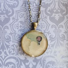 Resin Pendant with hot air balloon and sky Pendant necklace with  Brass Chain Romantic and sweet necklace for her