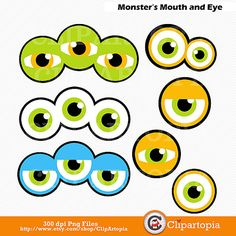 50% OFF SALE Monsters Mouth and Eyes Digital by ClipArtopia