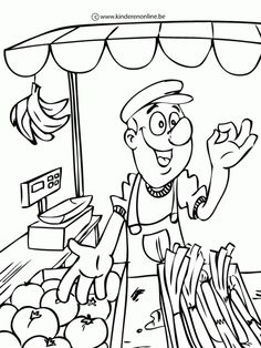 au marché - imagine what the salesman is saying Colouring Pics, Coloring Pages For Kids, Adult Coloring, Coloring Books, Community Workers, Animal Drawings, Eminem, Crafts For Kids, Clip Art