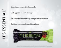 """The new It's Essential weight loss energy bar pairs delicious flavor with powerful ancient grains to supercharge your weight loss results! Its dark chocolate raspberry taste is truly a flavor to crave, and the addition of a new, cutting-edge ingredient, SolaGrain, packs It's Essential with dietary fiber to promote digestive health.  Text """"IT'S ESSENTIAL"""" to 785.506.6480 for more information"""
