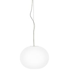 Suspended Glo-Ball 1999 Hand-blown opal glass diffuser lamp. Produced by Flos, Italy.