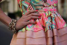 Elegant neon evening dress ...