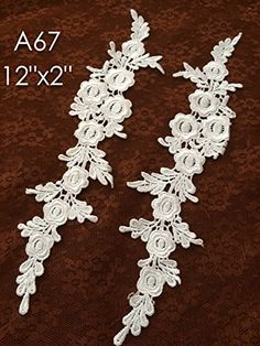 A67 Lace Appliques White Color Wedding Applique ONE Pair Lace Appliques Embroidered Appliques >>> To view further for this item, visit the image link.Note:It is affiliate link to Amazon. #adorable