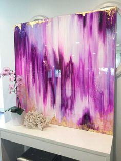 Abstract Art Large Canvas Painting Lavender, White, fuschia, Gold Ikat Ombre…
