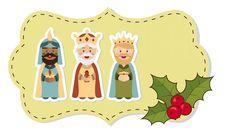 Etiquetas para regalos de los Reyes Magos - Melchor con fondo verde