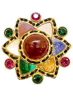 Chanel Poured Glass and Agate Brooch