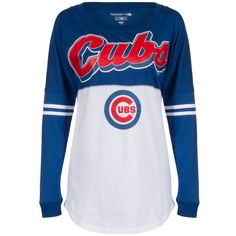 Chicago Cubs Women's Royal and White Front and Back Script Logos Long Sleeve Shirt By 5th & Ocean #Chicago #Cubs #ChicagoCubs