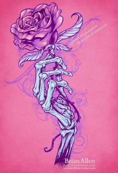 Skeleton hand holding rose silk-screen