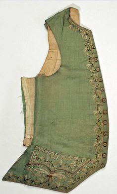 Silk and linen embroidered waistcoat - 18th century