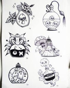 Witchy potions 👻🕸️🍄🕷️☣️🔮 Per disegni su commissione contattami in privato 🔮 Black Ink Tattoos, Body Art Tattoos, Arabic Tattoos, Tattoo Black, Sleeve Tattoos, Tatoos, Tattoo Drawings, Art Drawings, White Board Drawings