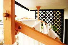 Ceiling mount drying rack on balcony, can also wall mount