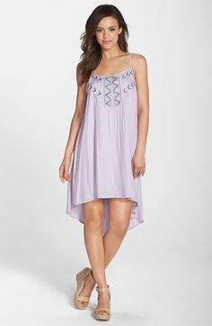 BB Dakota 'Kase' Embroidered High/Low A-Line Dress | Nordstrom