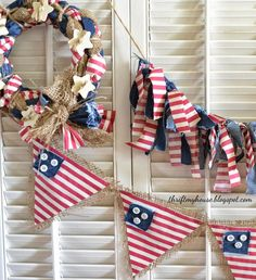 Using old denim, a thrift store pillow case and burlap, you can make these:  Easy July 4th Craft Projects Thrift My House