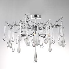 Illuminati Dew Drop Semi Flush ceiling Fitting, Chrome   ACHICA