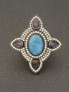 Sutra Jewels - 18k Opal and Diamond Cross Ring - at - London Jewelers