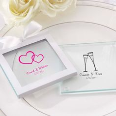 I really like this for a personalized favor that guests can take home with them... and use at the wedding!   $20 for 12.  From beau-coup.com.