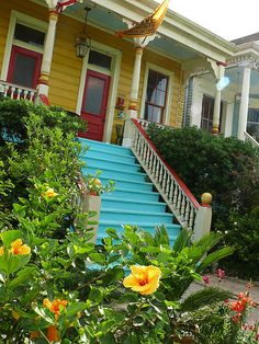 Yellow House Blue Stairs