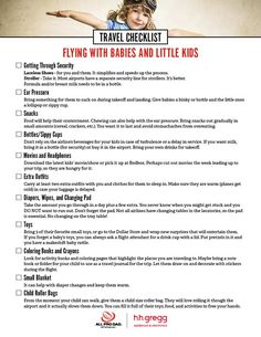 One of the most stressful things you will do as a parent is fly with little kids. You are confined and have to keep them contained and occupied. Here is a travel checklist for flying with little ones.