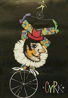 Vintage Poster - Polish Circus - by Liliana Baczewska- Clown on unicycle, woman on unicycle -1967.