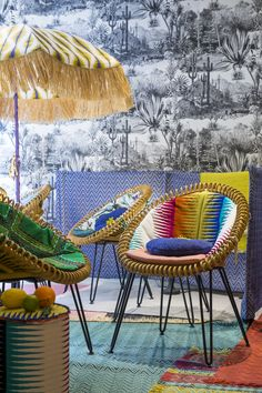 La Maison Pierre Frey presents its new Maya collection in our Curly chair. Central American vibes! Vincent Sheppard | Atelier N/7 | Curly