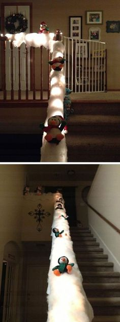 Sliding Penguins on Banister with Lights | Click Pic for 20 DIY Christmas Decorations for Kids to Make | Easy Christmas Crafts for Kids to Make