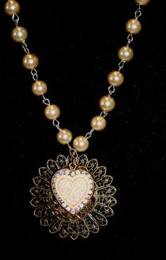 Heart with rhinestones metal filigree pearl off by hudathotjewelry, $15.00