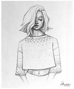 Teenage Girl Drawing, Girl Drawing Easy, Girl Drawing Sketches, Cool Art Drawings, Easy Drawings, Tumblr Sketches, Sketches Of Girls, Pretty Drawings Of Girls, Teenage Drawings