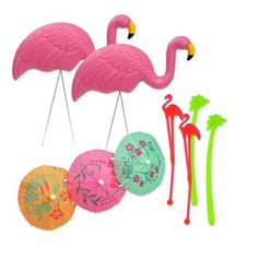 Pink Flamingo Lawn Ornaments - Combo Set - Includes Cocktail Stir Sticks & Cocktail Drink Umbrellas - [BUNDLE, 9 Pieces] Lawn Flamingos Pair, 2 Flamingo Stir Sticks, 2 Palm Tree Stir Sticks. 3 Umbrellas - Flamingo Party Supplies, Favors, Decorations