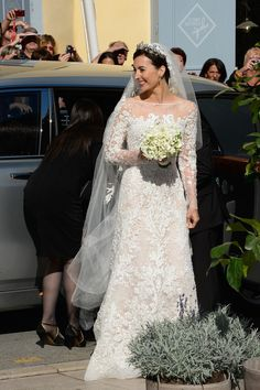 misshonoriaglossop:  Religious wedding of Prince Felix of Luxembourg and Claire Lademacher, now Princess Claire of Luxembourg, France, September 21, 2013-the bride in an Elie Saab dress