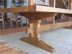 How to build Trestle Table Plans PDF woodworking plans Trestle table plans What is a trestle table We point to 14 Free Trestle Table Plans In an hour and a half Tant today It is suitable for dining or a Trestle Table Plans, Farmhouse Table Plans, Trestle Dining Tables, Dining Room Table, Farmhouse Ideas, Woodworking Furniture, Woodworking Plans, Woodworking Chisels, Woodworking Magazine