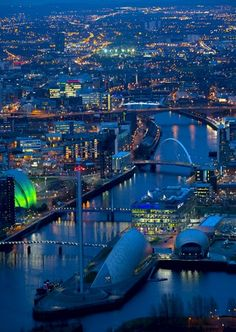 An aerial view of Clyde and Central Glasgow, Scotland