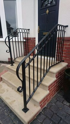 Bespoke Gates and Railings. Call Grange Fabrications Ltd on 0114 272 7606 for high quality beautiful yet functional garden gates for your property in South Yorkshire. Porch Step Railing, Wrought Iron Porch Railings, Porch Handrails, Exterior Stair Railing, Staircase Railing Design, Outdoor Stair Railing, Front Porch Steps, Patio Stairs, Wrought Iron Stair Railing