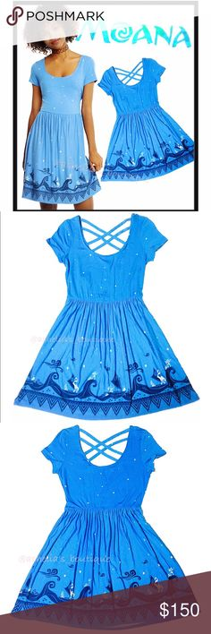 ✨SALE✨🌺 Disney MOANA Border Print Strappy Dress DISNEY MOANA Border Print Dress  Condition: New with tags Color: Blue Product Details:  Fits a size 7-9 The ocean is calling. Put on this dress and answer.   Allover white star print with a navy and white Polynesian-inspired border print of Moana and demigod Maui navigating the ocean. The simple fit and flare Strappy back detail Scoop neckline  95% cotton; 5% rayon Wash cold; dry low Imported Disney Dresses