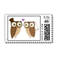 Wedding Bride and Groom Owls Postage. #owl #owls #wedding #illustration #postage #stamp #bride #groom