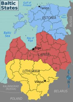 Baltic States are three small countries in Northern Europe near Baltic sea. These are Lithuania, Latvia and Estonia. Baltic states are quite new countries after Soviet Union. From largest to smallest: Lithuania, Latvia, Estonia
