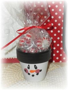cute little clay pot snowman