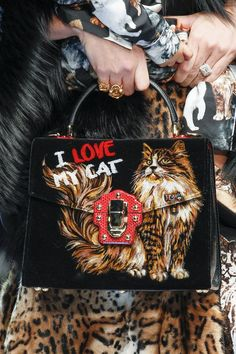 http://www.vogue.com/fashion-shows/fall-2017-ready-to-wear/dolce-gabbana/slideshow/details. | Dolce Gabbana I Love My Cat
