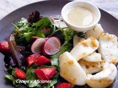 Receta Plato : Sepia marinada a la plancha por Conchaber Tapas, Camembert Cheese, Potato Salad, Potatoes, Cooking Recipes, Fish, Chicken, Ethnic Recipes, Spanish