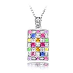 Contessa-Bella-Fancy-Genuine-18k-White-Gold-Plated-Multicolor-and-Clear-Swarovski-Austrian-Crystal-Elements-Beautiful-Checkerboard-Women-Charm-Pendant-Necklace-Elegant-Silver-Color-Silver-Color-Crystal-Fashion-Jewelry-P9907.jpg (500×500)