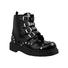 Women's T.U.K. Original Footwear Anarchic Studded And Strapped Combat... ($125) ❤ liked on Polyvore featuring shoes, boots, black, leather boots, military boots, flat combat boots, black leather shoes and black flat boots