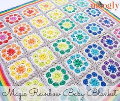 This baby blanket is spectacular! The Magic Rainbow Baby Blanket is a free pattern baby blanket by Tamara Kelly from Moogly . For this pattern you'll use 11 colors : 10 colors to crochet the 36 squares and the 11th to join the squares and finish. I love how she used the petal color of one row …