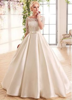 Buy discount Gorgeous Lace & Satin Bateau Neckline A-Line Wedding Dresses With Belt at Dressilyme.com