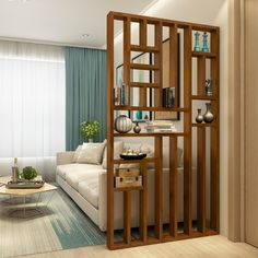 Nordic wood door off the entrance cabinet shelf creative hollow small restaurant off the living room wall decoration Living Room Partition Design, Living Room Divider, Room Partition Designs, Home Living Room, Living Room Decor, Dining Room, Wood Room Divider, Room Partition Wall, Dividers For Rooms