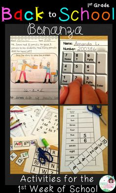 Back to School packet for the 1st Week of School! Includes Letters and Numbers activities, Reading Logs, Math Problems, Scavenger Hunts, and much more! You will feel good about what your students are doing! Aligned with 1st Grade CCSS. Click the image to see the preview at my TpT store!