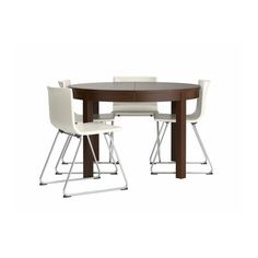 Bjursta / Bernhard Table And 4 Chairs, Brown, Kavat White