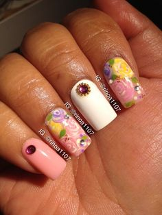 #flower #floral #nails #nailart #rhinestone #pinks  #opi in heart throb