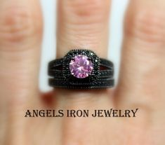 925 Sterling Silver Rhodium-plated Created Spinel /& CZ 3 Stone Wedding//Anniversary Ring Band Size 6-8