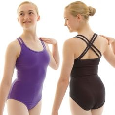 Contemporary girl's ballet leotard with double criss-cross straps and bra lining.