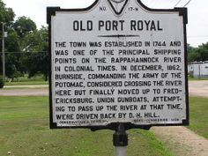 Virginia Marker for the town of Port Royal, established in 1744